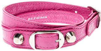 Balenciaga Arena Pink Leather Silver Tone Double Wrap Bracelet