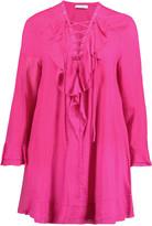 IRO Florine lace-up ruffled voile mini dress