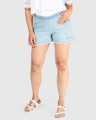 Pea in a Pod Maternity - Women's Blue Denim - Annabella Denim Shorts - Size One Size, 6 at The Iconic