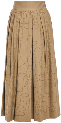 Brunello Cucinelli Bead-embellished Pleated Cotton-blend Twill Midi Skirt