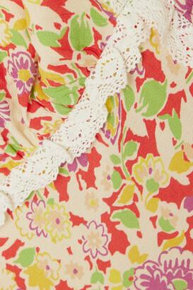 Rixo Storm Crochet-trimmed Floral-print Crepe Midi Dress - Yellow