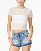 American Rag Sheer Cropped Lace T-Shirt, Only at Macy's