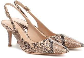 Gianvito Rossi Esther python slingback pumps