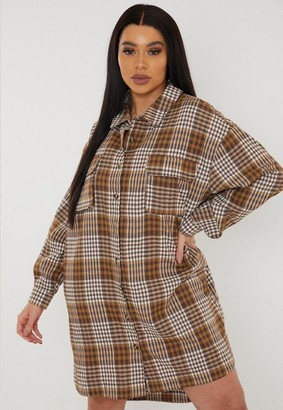Missguided Plus Size Brown Plaid Oversized Shirt Dress