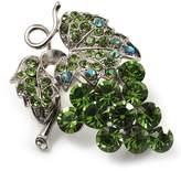 Avalaya Swarovski Crystal Bunch Of Grapes Brooch (Light Green, Silver Tone)