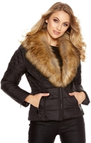 Quiz Black Padded Faux Fur Collar Biker Jacket