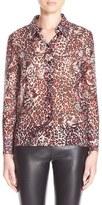 Saint Laurent Jaguar Print Silk Georgette Blouse