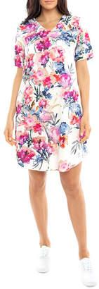 Jump S/Slv Floral Print Dress