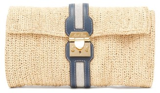 Mark Cross Sylvette Leather-trimmed Raffia Clutch - Womens - Beige Multi