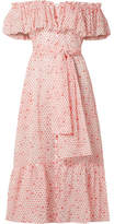 Lisa Marie Fernandez Mira Off-the-shoulder Printed Cotton-voile Midi Dress - Tomato red