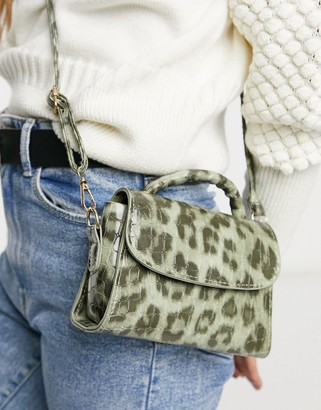 Ego mini bag in green leopard print