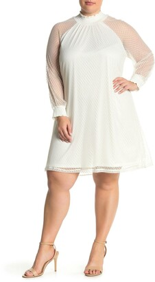 Nina Leonard Shirred Mock Neck Lace Trapeze Dress
