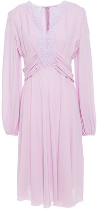 Giambattista Valli Draped Guipure Lace-trimmed Crepe Dress