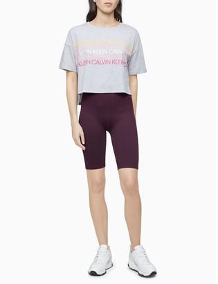 Calvin Klein Performance Repeating Logo Stripe Cropped T-Shirt