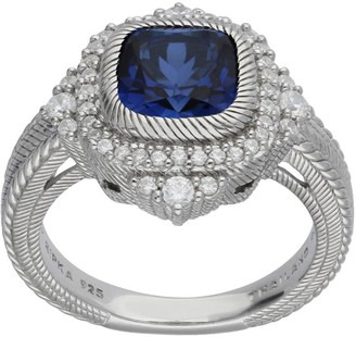Judith Ripka Sterling Cushion-Cut Sapphire & Diamonique Ring