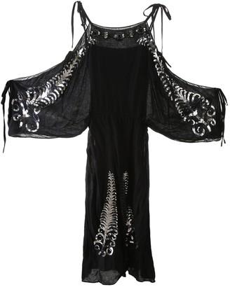Prada Cold-Shoulder Embellished Dress