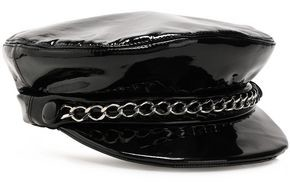 Eugenia Kim Chain-trimmed Patent-leather Cap