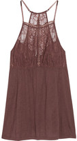 Eberjey Saskia Lace-trimmed Stretch-jersey Camisole - Chocolate