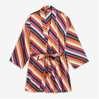 Joe Fresh Women+ Stripe Satin Robe, Fuchsia (Size 2X)