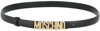 Moschino Skinny Leather Logo Belt