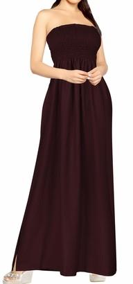 LA LEELA Lightweight Rayon All in 1 Beachwear Ladies Prom Casual Evening Holidays Sundress Tunic TOP Bandeau Bikini Cover up Loungewear[OSFM] UK: 6 (XS) - 16 (L)Violet_u512