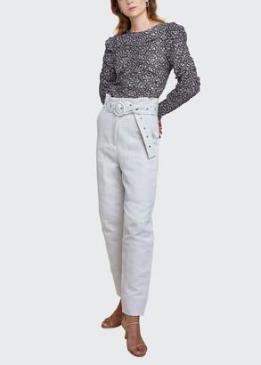 LES COYOTES DE PARIS Mira Printed Long-Sleeve Ruched Top