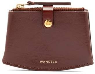 Wandler Corsa Crackled Leather Cardholder - Womens - Burgundy