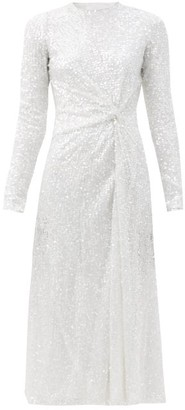 Galvan Sequinned Knotted-front Dress - White