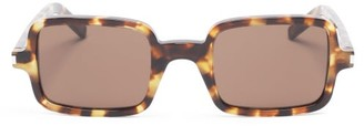 Saint Laurent Logo-engraved Square Acetate Sunglasses - Brown