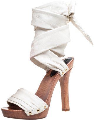 Dolce & Gabbana White Leather Platform Ankle Wrap Clog Sandals Size 38