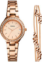 Fossil Women's Blane Rose Gold-Tone Stainless Steel Bracelet Watch 31mm Gift Set