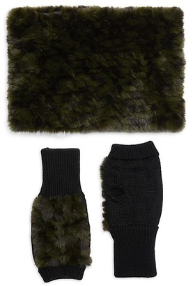 Jocelyn 2-Piece Faux Fur Wool-Blend Neck Wrap Fingerless Mitten Set