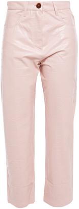 Nanushka Ivy Cropped Vegan Croc-effect Leather Straight-leg Pants