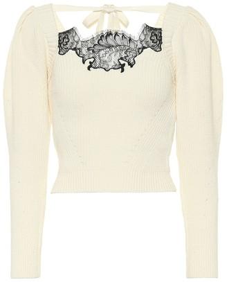 Self-Portrait Lace-trimmed cotton-blend sweater