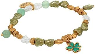 Alex and Ani Four Leaf Clover Beaded Charm Stretch Bracelet (Gold) Bracelet