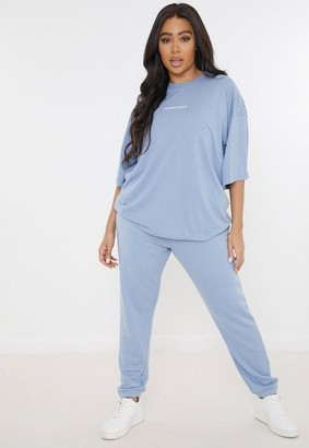 Missguided Plus Size Blue T Shirt And Joggers Co Ord Set