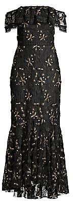 Shoshanna Women's Metallic Floral Off-The-Shoulder Flounce Dress - Size 0
