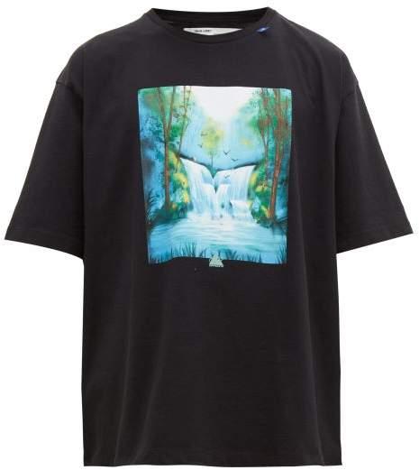 Off-White Off White Waterfall Print Cotton T Shirt - Mens - Black Multi
