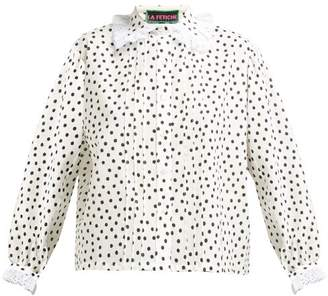 La Fetiche - Jane Lace Collar Cotton Twill Blouse - Womens - White Black