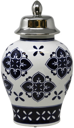 Sagebrook Home White/Blue/Silver Temple Jar 16In