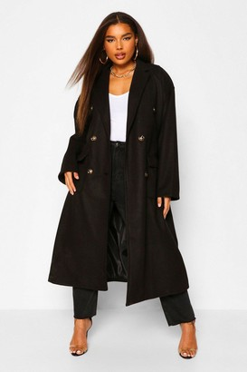 boohoo Plus Double Pocket Belted Wool Look Coat