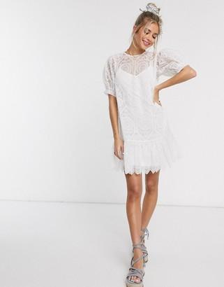 ASOS DESIGN broderie mesh lace up back mini smock dress in white