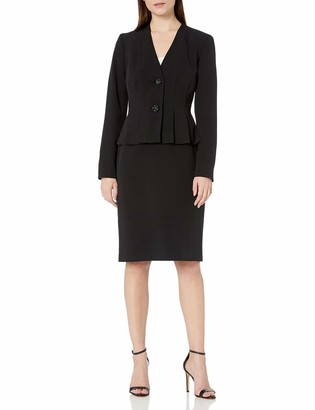 Le Suit LeSuit Women's V-Neck 2 Button Seamed Crepe Skirt Suit
