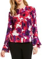 Calvin Klein Floral Print Ruffle Cuff Long Bell Sleeve Blouse