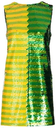 Halpern Sequinned Striped Shift Mini Dress