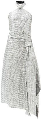 Roland Mouret Halse Halterneck Draped Sequinned Dress - Silver
