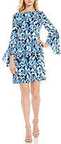 DKNY Bell Sleeve Printed Sheath Dress