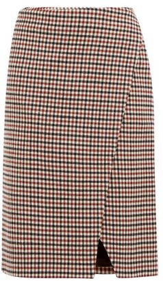 Holiday Boileau Cody Gingham Wool-blend Wrap Skirt - Womens - Brown
