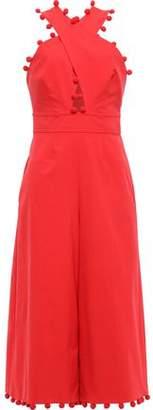 Oscar de la Renta Cutout Pompom-embellished Cotton-blend Jumpsuit