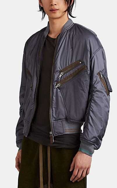 Haider Ackermann Men's Ruched-Back Tech-Taffeta Bomber Jacket - Gray